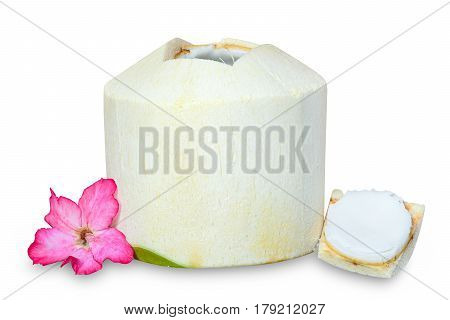 Young coconut ready to drink and eat with pink flower isolated on white background with clipping path