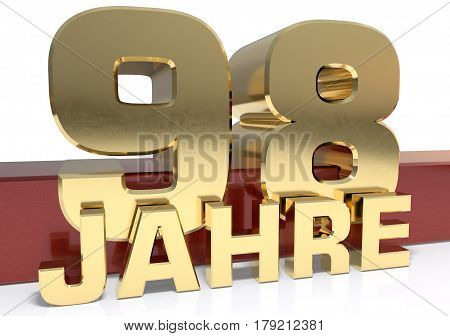 Golden digit ninety eight and the word of the year. Translated from the German - years.3D illustration