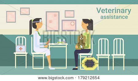 Medical Doctor Veterinarian Cure Animal In Clinic Of Veterinary Assistance Flat Vector Illustration