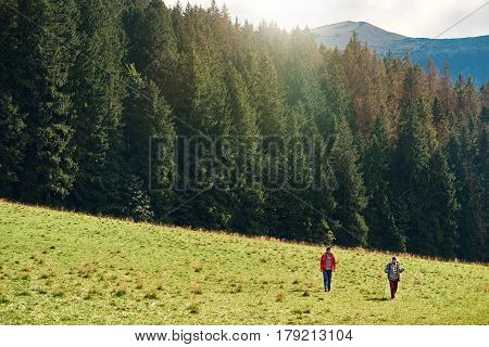Two young men wearing backpacks and carrying trekking poles walking in a field together while hiking in the wilderness