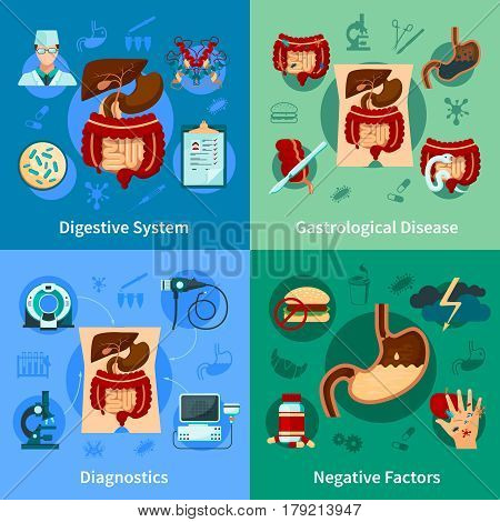 Four square colored digestive system icon set with diagnostics gastrological disease and negative factors descriptions vector illustration