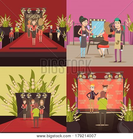 Catwalk fashion concept with four square compositions of doodle models celebrities hair stylists and photogapher characters vector illustration