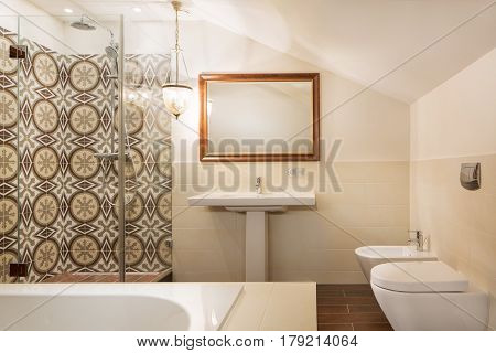 Interior of new designer contemporary spa bathroom