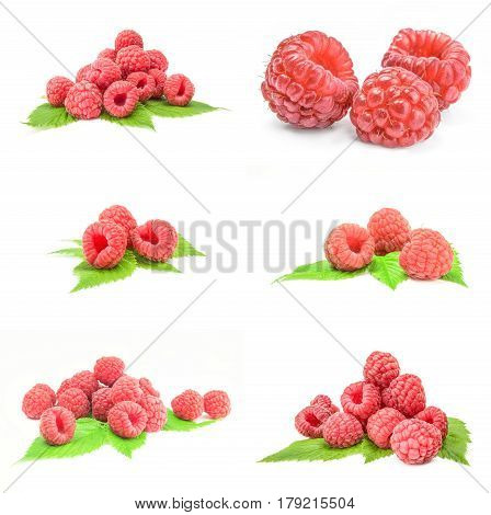 Group of raspberry with leaf isolated on a white background