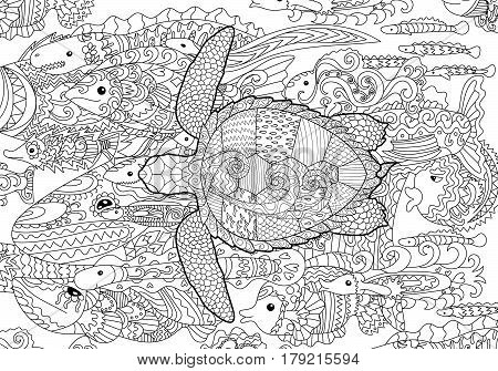 Swimming turtle with high details for anti stress coloring page, illustration in tracery style. Abstract pattern with oceanic elements for relax coloring for grown ups in tracery style. Vector.