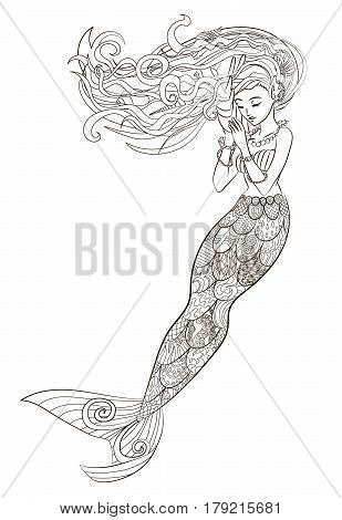 Patterned illustration of a mermaid in the zentangle style. Drawing with a beautiful underwater girl isolated on white background. Adult antistress coloring page. Colouring book for grown ups. Vector