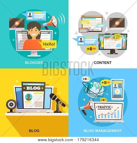 Blogger concept square compositions set with flat images of information content and social media activity icons vector illustration