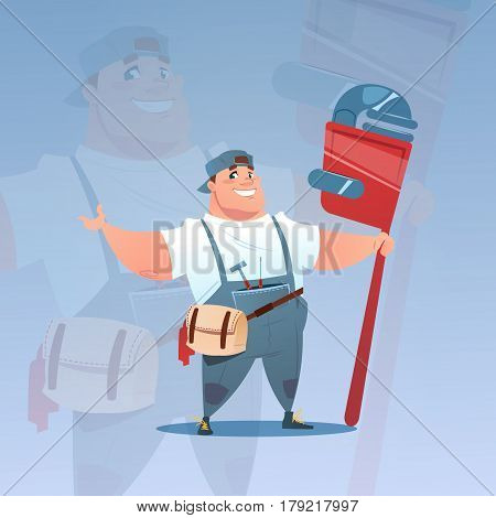 Happy Smiling Workman Holding Big Wrench International Labor Day Concept Flat Vector Illustration