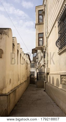 Street of the old city (Icheri Shahar) in Baku located in the Central part of Azerbaijani capita