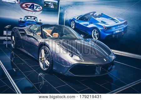 BELGRADE, SERBIA - MARCH 28, 2017 Belgrade Car Show Ferrari 488 Spider