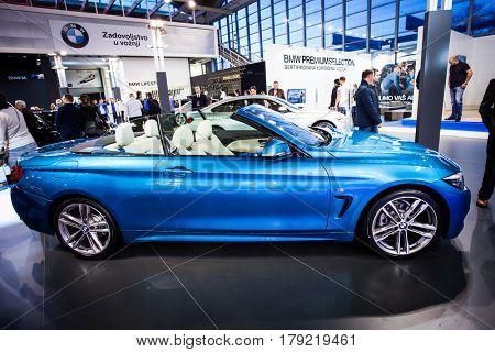 BELGRADE, SERBIA - MARCH 28, 2017 Belgrade Car Show BMW 4er Cabrio
