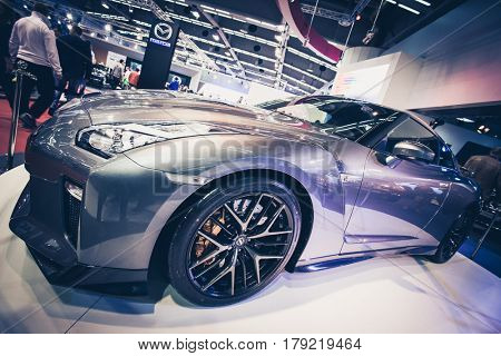 BELGRADE, SERBIA - MARCH 28, 2017 Belgrade Car Show Nissan GT-R