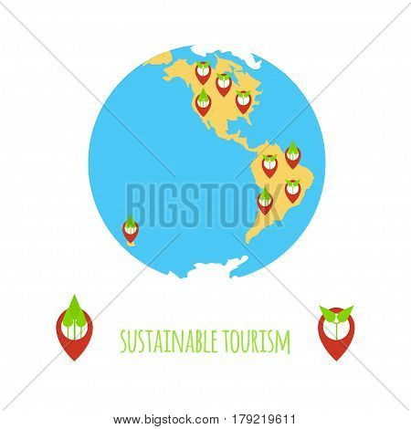 Sustainable tourism concept. Stock vector illustration of earth globe and navigation position icons with green plants.