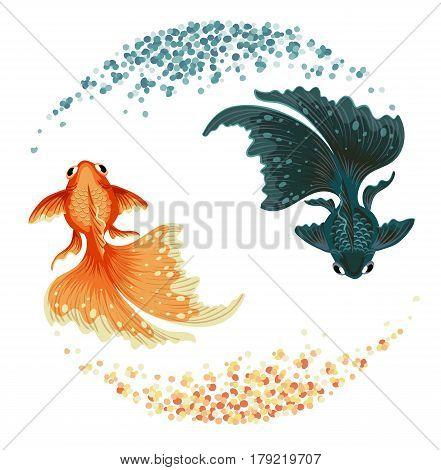 black goldfish top view logo vector illustration