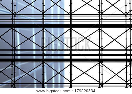 3d image of construction scaffolding against directly below shot of modern building
