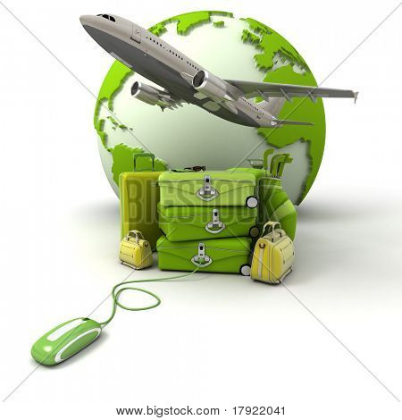 The Earth, a plane taking off, a pile of luggage including suitcases, briefcases, golf bag, connected to a computer mouse in green and yellow shades
