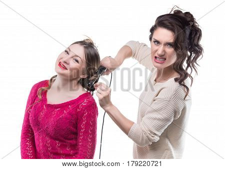 Working angry hairstylist and woman on white background