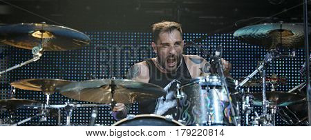 Padua Padova, Pd, Italy - March 29, 2017: Luca Martelli Drummer Of Litfiba An Italian Rock Band On T