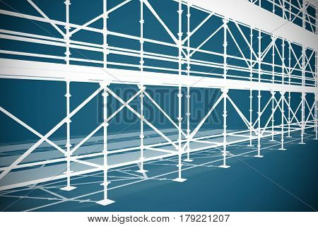 3d illustration of gray scaffolding against dark blue background