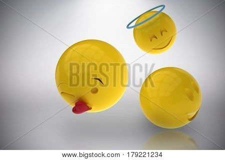 Three dimensional image of different smileys reactions against grey background 3d