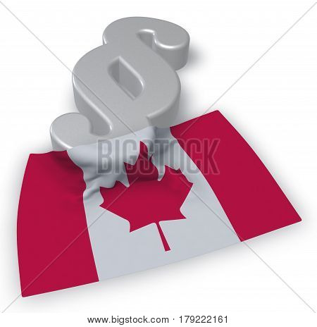 canada flag and paragraph symbol - 3d illustration