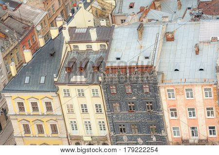 Background of old houses in historic center of Lvov, Ukraine