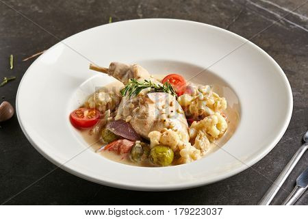 Restaurant Food - Rabbit Stew with Vegetables and Sour Cream
