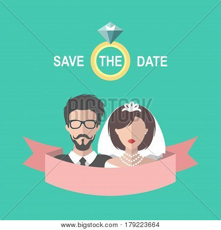 Vintage wedding romantic invitation card with ribbon, ring, bride and groom in flat style. Save the Date invite in vector