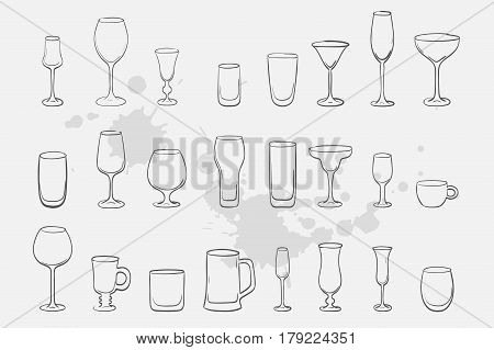 Set of different drinks isolated on white background for your design