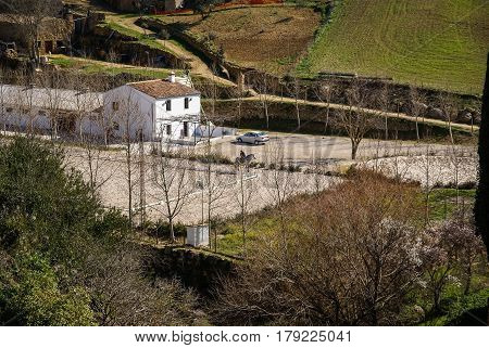 Lanscape with a modern farmhouse near Ronda, Andalusia, Spain