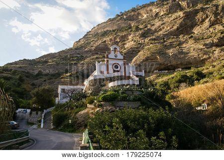 Landscape with a representative catholic church near Garganta del Chorro, Andalusia, Spain