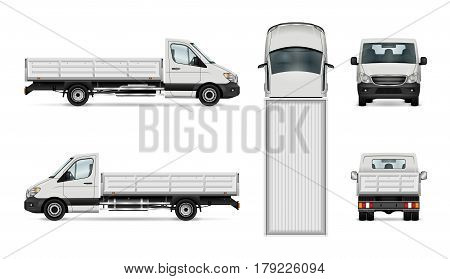 Flatbed truck vector illustration. Isolated white lorry. All layers and groups well organized for easy editing and recolor. View from side back front and top.