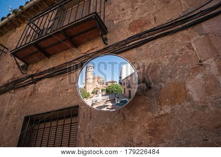 Medieval castle reflected in the mirrow, Spain
