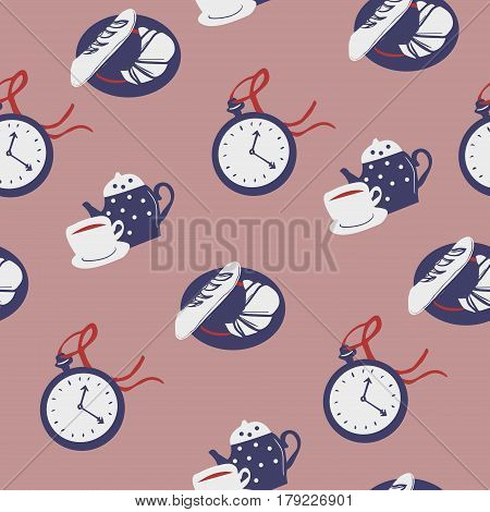 Lovely Colorful Afternoon Tea Seamless Background
