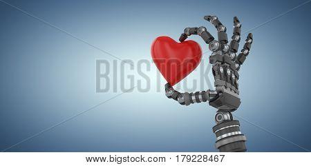 3d image of robot hand holding red heard shape decoration against purple vignette