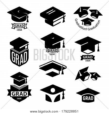 Isolated black and white color students graduation hat logo collection, mortarboard of books logotype set, university grad emblems, education element vector illustration.