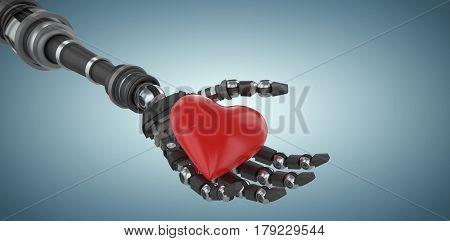 3d image of robot holding red heard shape decoration against grey vignette 3d