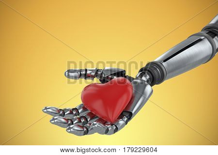 3d image of cyborg holding red heard shape decoration against yellow vignette