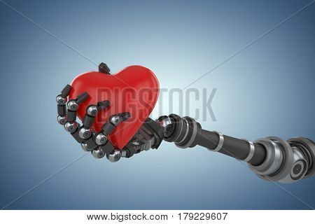 Three dimensional image of robot hand holding red heard decoration against purple vignette 3d