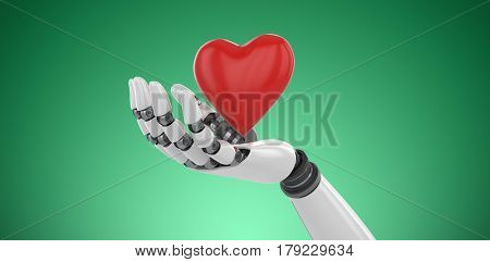 3d image of cyborg showing red heart shape against green vignette