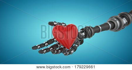 3d image of robot hand holding heard shape decoration against blue vignette background 3d
