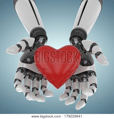 3d image of cyborg holding heart shape decor against grey vignette 3d