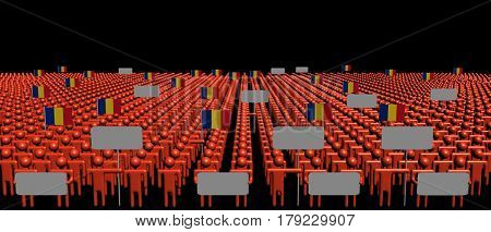 Crowd of people with signs and Romanian flags 3d illustration