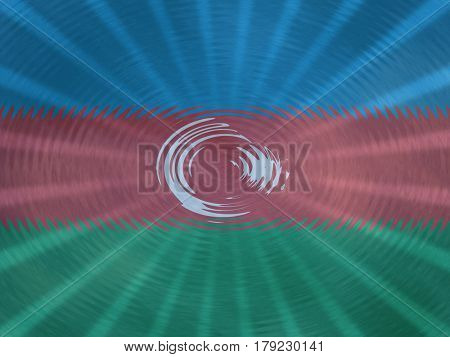 Azerbaijan flag background with ripples and rays illustration