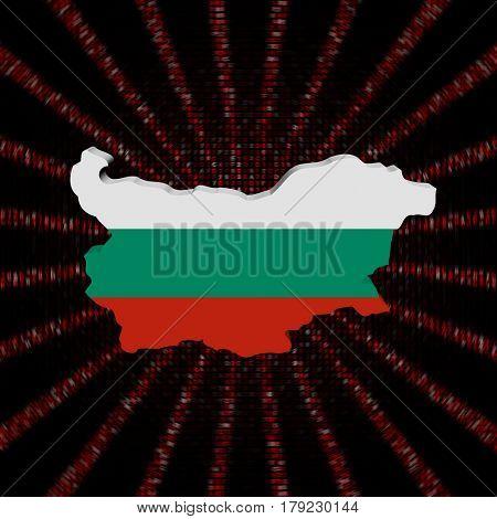 Bulgaria map flag on red hex code burst 3d illustration