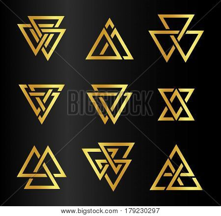 Isolated abstract golden color triangles contour logo set on black background, geometric triangular shape logotype collection, gold luxury decoration vector illustration.