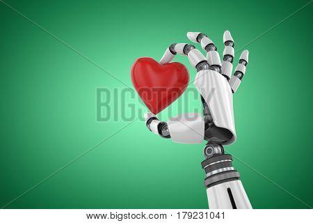 3d image of cyborg holding red heart shape decor against green vignette 3d