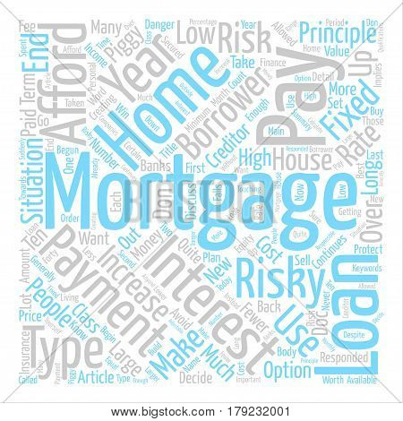 Types of High Risk Mortgage Word Cloud Concept Text Background