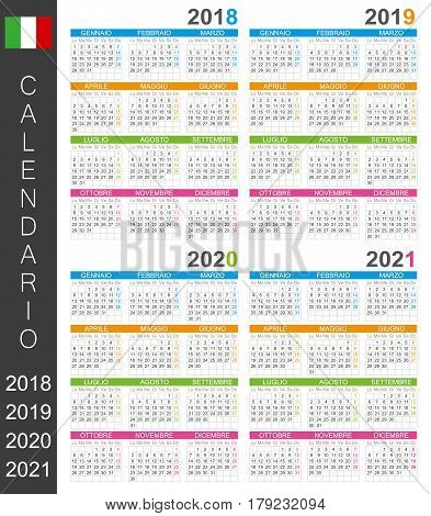 Italian calendar for years 2018, 2019, 2020, 2021, colorful calendar template, vector illustration