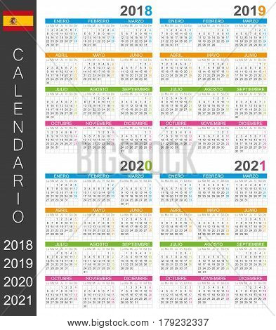 Spanish calendar for years 2018, 2019, 2020, 2021, colorful calendar template, vector illustration